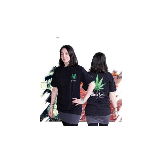 ND T-Shirt Black Leaf Cannabis, Größe S