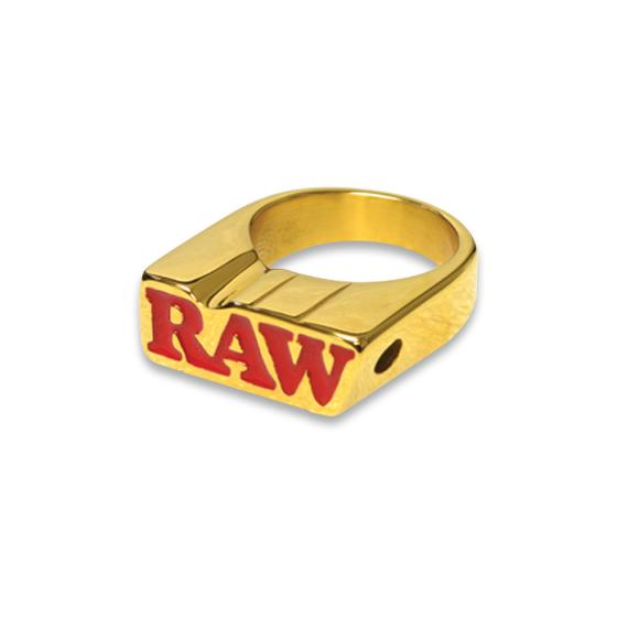 Raw Smokers Ring Gold, Ring mit Joint Halter, Size